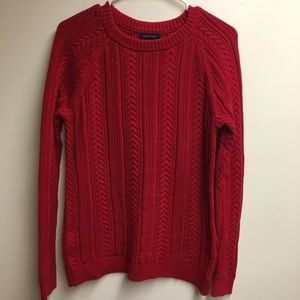 Lands' End Red Cable Knit Cotton Sweater
